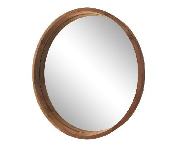 CB2 Acacia Wood Round Mirror