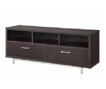 Cappuccino TV Console w/ Metal Base