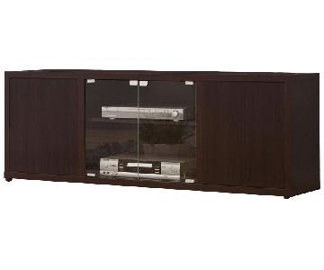 Cappuccino TV Console w/ Glass Door