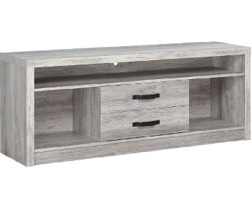Grey Driftwood TV Console w/ 2 Drawers