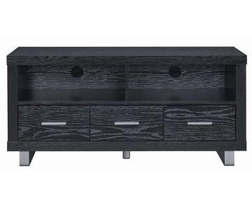 Black Oak TV Console w/ Metal Base