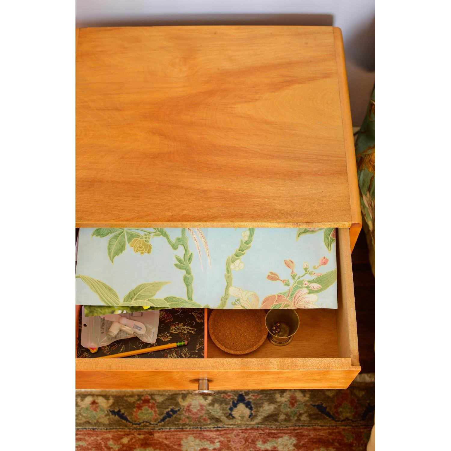 Blonde Wood Bedside Table w/ Drawer-0