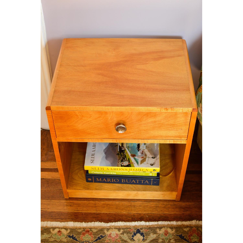 Blonde Wood Bedside Table w/ Drawer-1