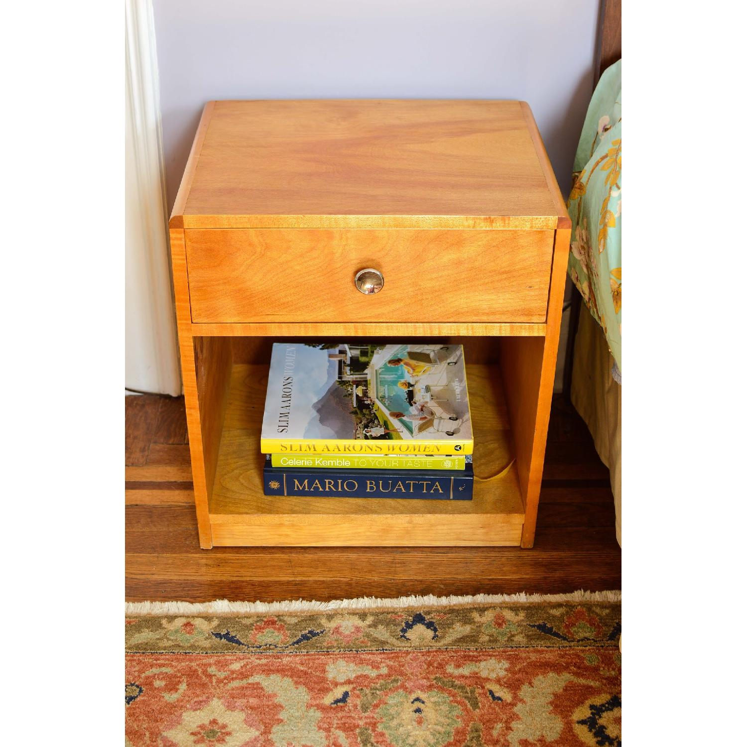 Blonde Wood Bedside Table w/ Drawer-2