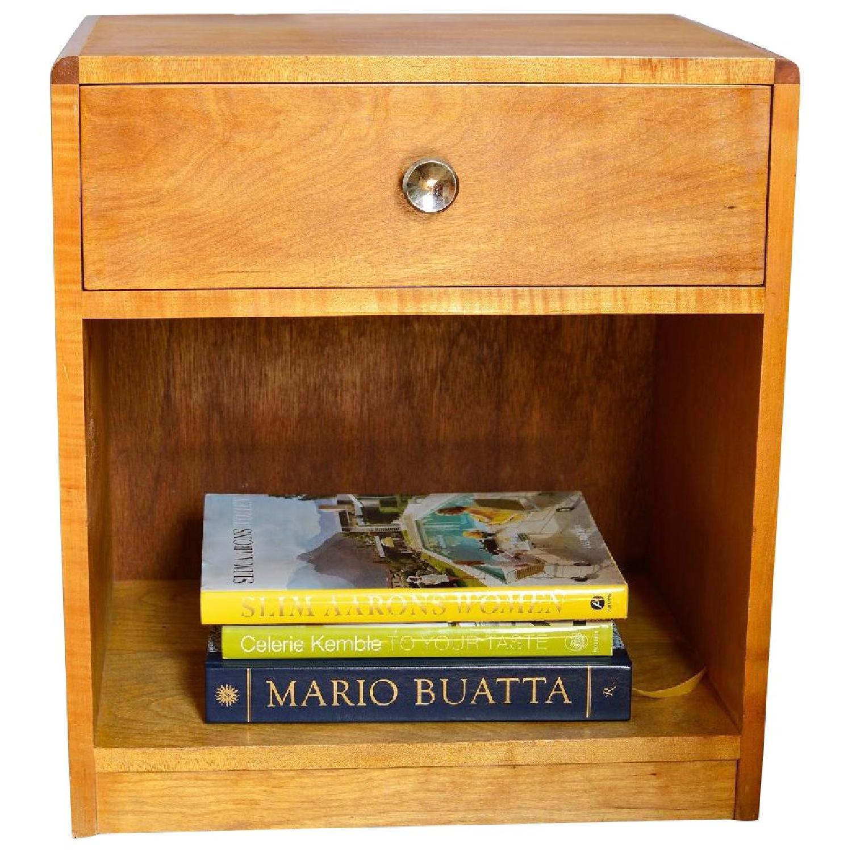 Blonde Wood Bedside Table w/ Drawer-3
