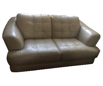 Bob's Off-White Tufted Leather Loveseat