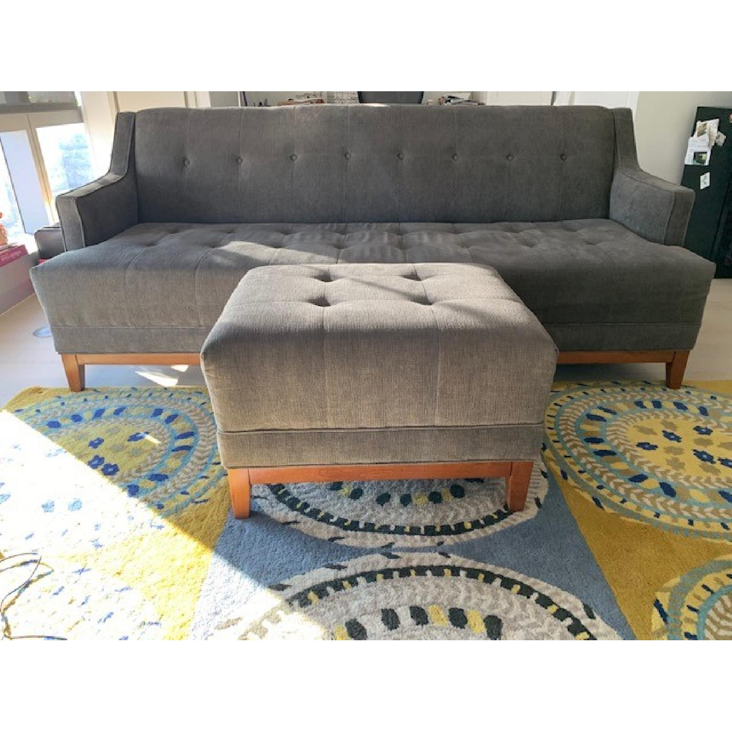 Living Spaces Mid Century Modern Sofa & Ottoman-0