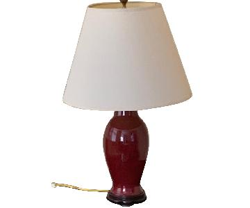 Maroon Table Lamp w/ White/Cream Shade