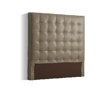 West Elm Tall Grid-Tufted Queen Headboard in Gray Leather