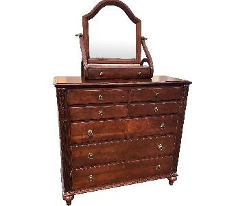 Ethan Allen Solid Wood Dresser w/ Jewelry Box Mirror