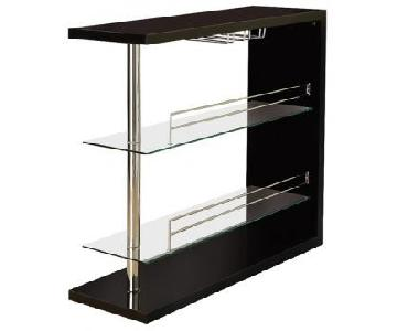 Coaster Bar Table w/ 2 Glass Shelves in Gloss Black