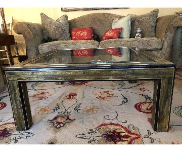 Mastercraft Etched Bronze Parsons Style Cocktail Table