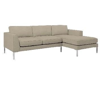 West Elm Marco 2-Piece Sectional Sofa in Chenille Tweed