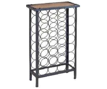 World Market Dark Wood & Metal Wine Rack