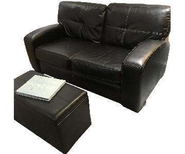 Bob's Black Faux Leather Loveseat & Ottoman