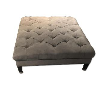 Grey Suede Tufted Ottoman