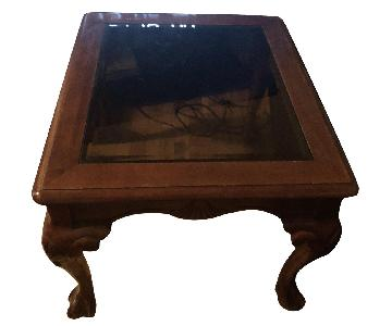 Vintage Solid Wood Handcrafted Glass Top Side Table