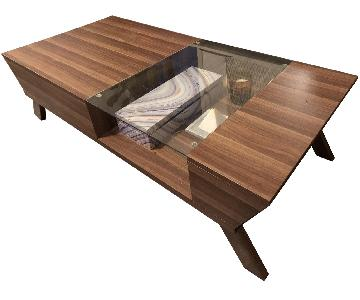 Furniture of America Baxter Modern Glass Top Coffee Table
