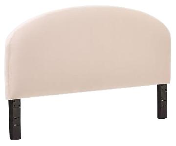 West Elm King Curved King Headboard in Velvet Dusty Blush
