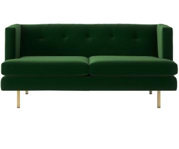 CB2 Avec Apartment Sofa in Emerald Green Cotton Velvet