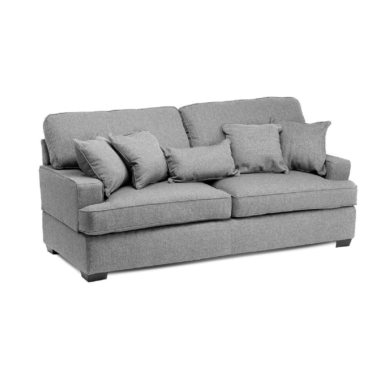 Jennifer Convertibles Devlin Fabric Sofa + Chair & Ottoman