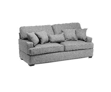 Jennifer Convertibles Devlin Fabric Sofa + Chair & Ottoman