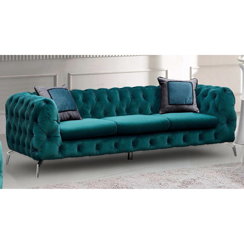 Jennifer Convertibles Teal Tufted Velvet Sofa-0