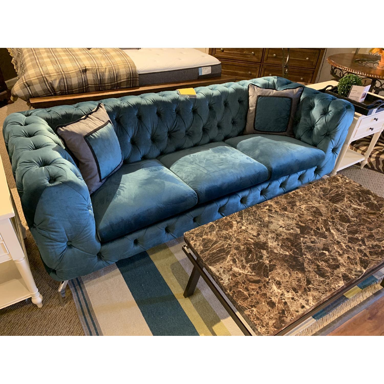 Jennifer Convertibles Teal Tufted Velvet Sofa-1