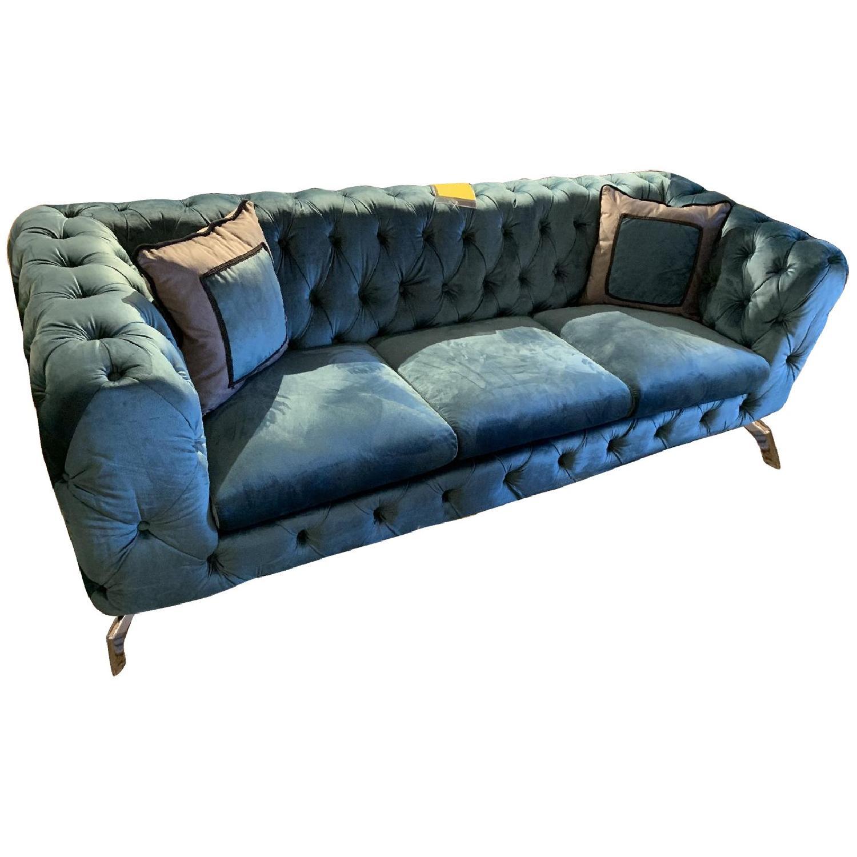 Jennifer Convertibles Teal Tufted Velvet Sofa