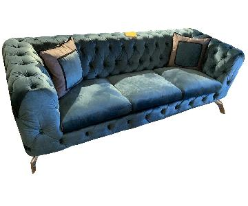 Jennifer Convertibles Teal Tufted Velvet Sofa