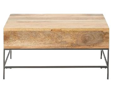 West Elm Industrial Storage Small Coffee Table in Raw Mango