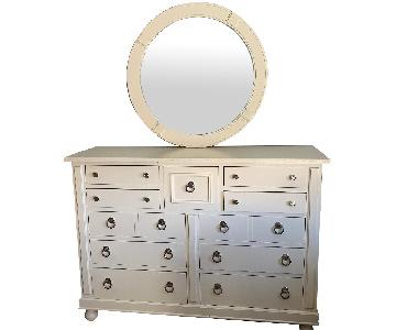 Off-White Dresser w/ Matching Mirror
