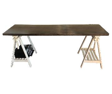 Butcher Block Table Top on White Sawhorse Legs
