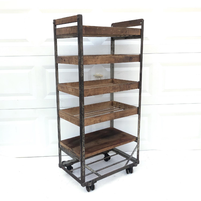Vintage Industrial Bakers Rack Shelf-1