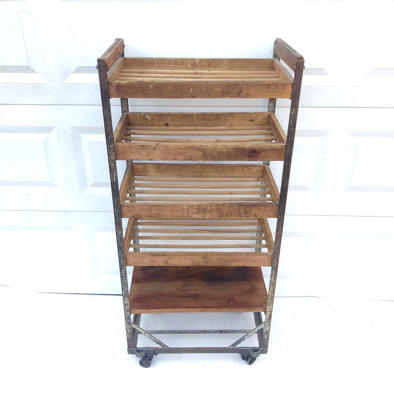 Vintage Industrial Bakers Rack Shelf-8