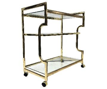 Vintage Modern Brass & Glass Bar Cart