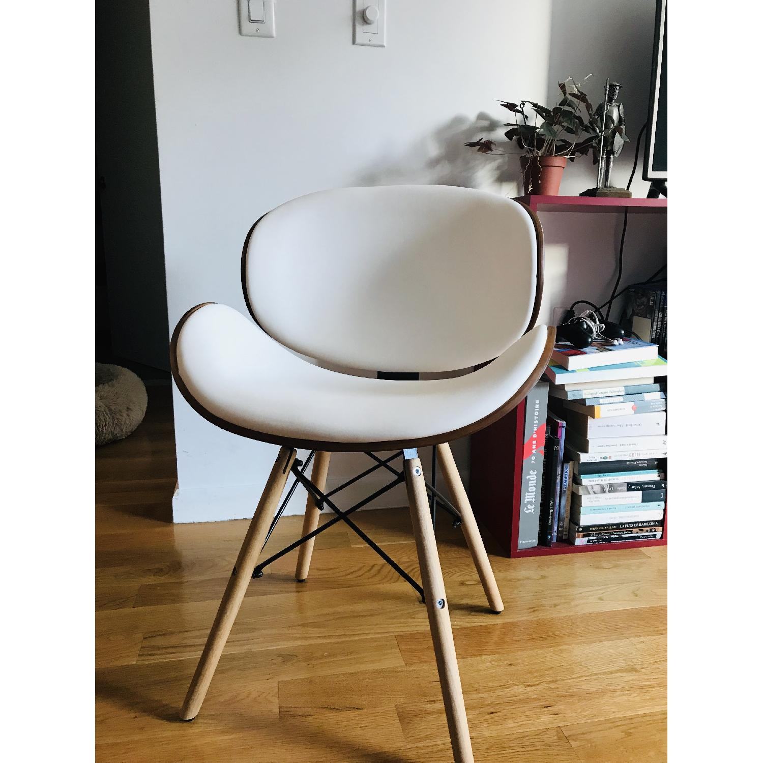 Upholstered White Leather Dining/Accent Chairs-0