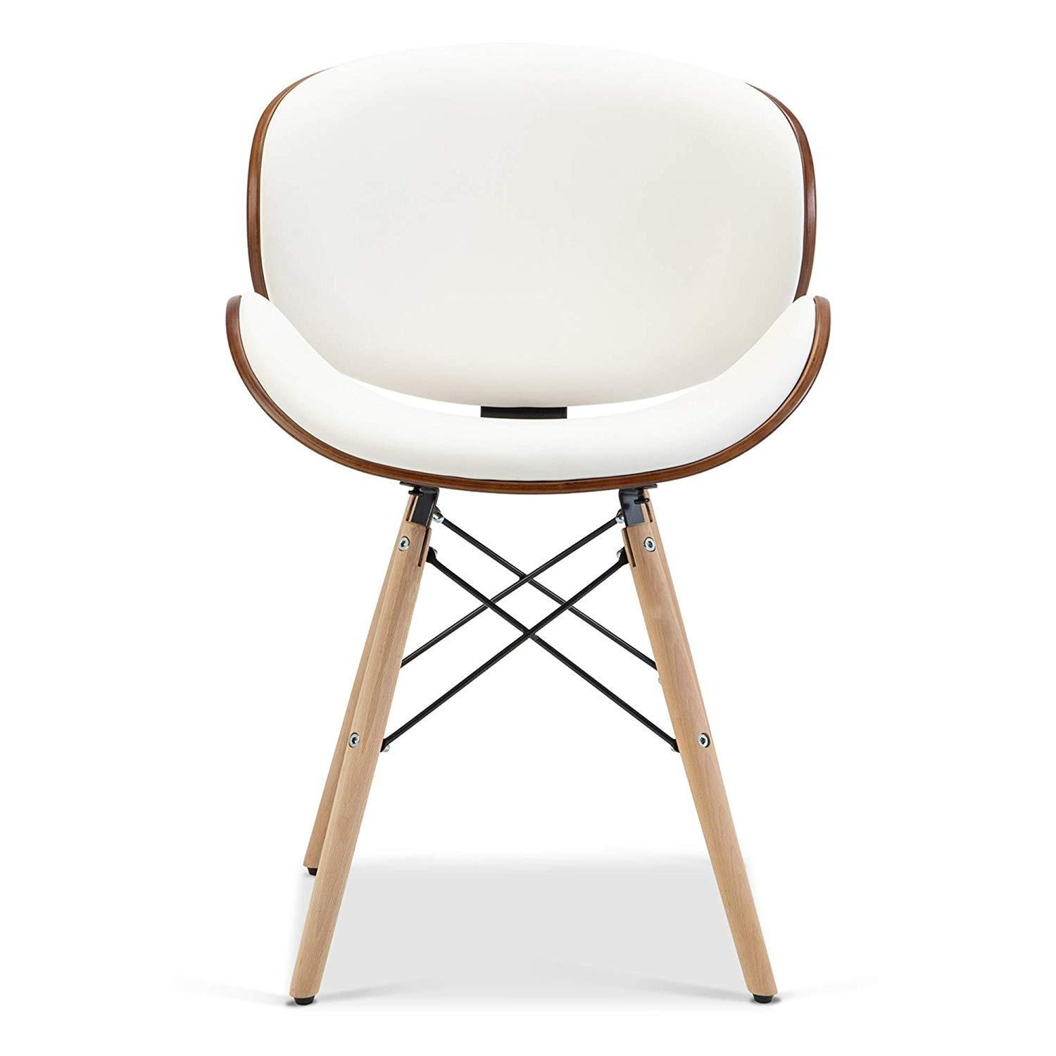 Upholstered White Leather Dining/Accent Chairs-4