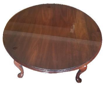 Vintage Dark Brown Glass Top Coffee Table