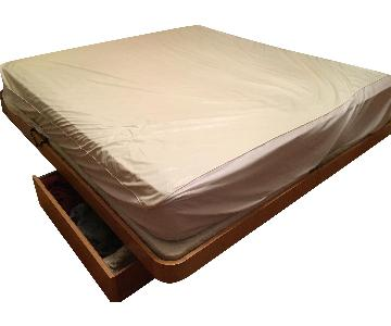 King Wooden Storage Platform Bed