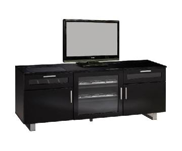 Black Connect-It TV Console w/ Metal Base