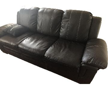 Brown Leather Sofa w/ Detachable Back