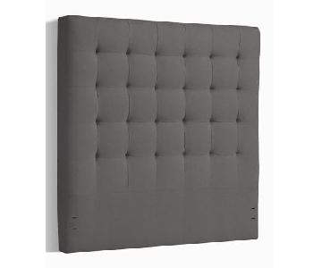 West Elm Tall Grid-Tufted Queen Headboard in Gray Fabric