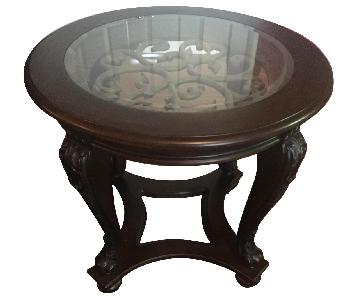 Espresso Wood End Tables w/ Glass Top