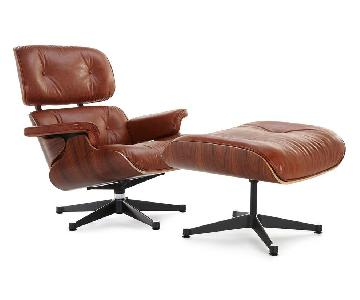 Mid Century Modern Brown Lounge Chair & Ottoman Replica