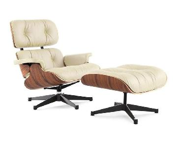 Classic Cream Leather Lounge Chair & Ottoman Replica