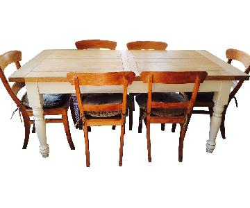Schilliger Dining Table w/ 6 Provenal Style Chairs