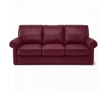 Natuzzi Italian Leather Sofa in Burgundy
