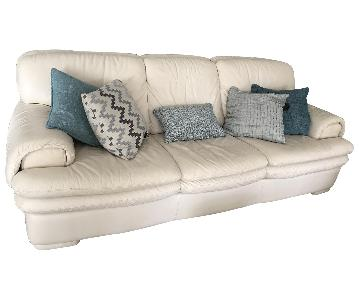 Natuzzi Ivory Leather Sofa