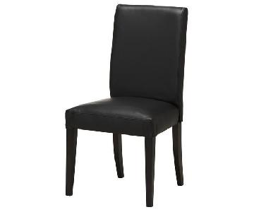 Ikea Dark Brown Leather Chair & Ottoman